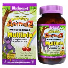Bluebonnet Nutrition Super Earth Rainforest Animalz продукты серии Whole Food  вишня 180шт Вишня