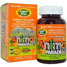 Natures Plus, Source of Life, Animal Parade, Жевательный витамин для детей, Без Сахара, 90 Animals