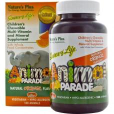 Мультивитамины и микроэлементы для детей Natures Plus  детские жевательные с натуральным апельсиновым вкусом