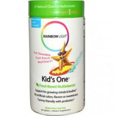 Rainbow Light, Kids One, Пищевые мультивитамины, фруктовый пунш, 90 таблеток