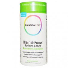 Мультивитаминны комплекс для детей и взрослых для умственной деятельности и концентрации Rainbow Light Brain &
