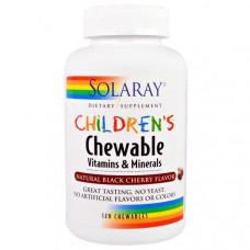 Solaray, Детские жевательные витамины и минералы, натуральный вкус черной вишни, 120 жевательных резинок