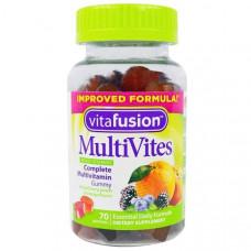 Мультивитамины натуральный вкус ягод  персика и апельсина  VitaFusion MutiVites 70 жевательных таблеток