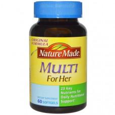 Nature Made, Мультивитамины для женщин, 60 гелевых капсул