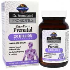 Garden of Life, Пренатал раз в день, пренатальный пробиотик из серии Составлено врачом, 30 капсул в растительной оболочке (Ice)