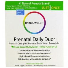 Rainbow Light, Пренатальные мультивитамины Prenatal One plus Prenatal DHA Smart Essentials, на 1 месяц (30 таблеток + 30 желатиновых капсул)