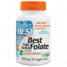 Doctors Best, Лучший фолат, полностью активный, с Quatrefolic, 400 мкг, 90 капсул на растительной основе