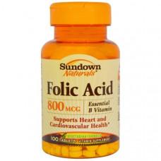 Sundown Naturals, Фолиевая кислота, 800 мкг, 100 таблеток
