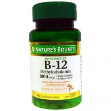 Витамин В12 (цианокобаламин)  Vitamin B 12 Natures Bounty1000 мг, 60 быстрорастворимых таблеток