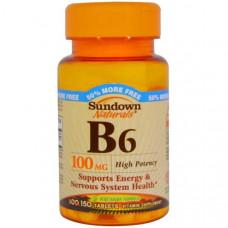 Sundown Naturals, B6, высокоактивный, 100 мг, 150 таблеток