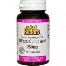 Natural Factors, D-пантотеновая кислота, 250 мг, 90 капсул