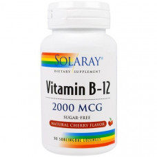 Solaray, Vitamin B-12, Вкус вишни , Sugar Free, 2000 mcg, 90 леденцов