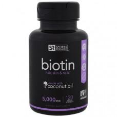 Sports Research, Биотин, 5 000 мкг, 120 мягких капсул в растительной оболочке с жидкостью