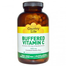 Country Life, Буферизованный витамин C, 1000 мг, 250 таблеток