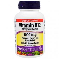 Webber Naturals, Витамин B12, метилкобаламин, 1000 мкг, 90 быстрорастворимых таблеток