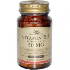 Solgar, Витамин B2, 50 мг, 100 таблеток