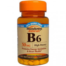 Sundown Naturals, Витамин B6, 50 мг, 150 таблеток