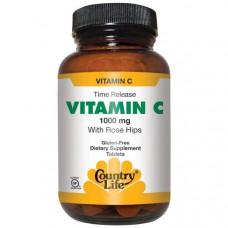 Country Life, Витамин C, с шиповником, 1000 мг, 250 таблеток