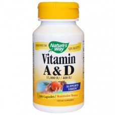 Витамины А и Д  Vitamin A & D Natures Way  15000 МЕ / 400 МЕ, 100 капсул