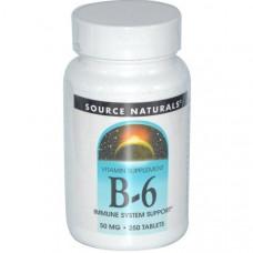 Source Naturals, Витамины B-6, 50 мг, 250 таблеток