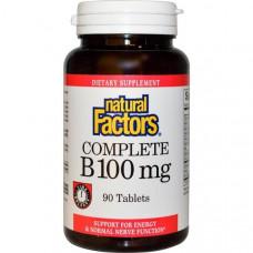 Natural Factors, Витамины Все B, 100 мг, 90 таблеток