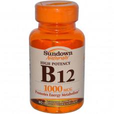 Sundown Naturals, Высокоактивный B-12, 1000 мкг, 60 таблеток