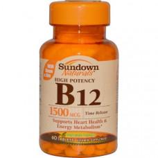 Sundown Naturals, Высокоактивный B12 с отсроченным высвобождением, 1500 мкг, 60 таблеток