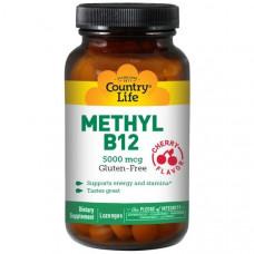 Витамин В12 метилкобаламин Country Life, Метил B12, со вкусом вишни, 5000 мкг, 60 лед.