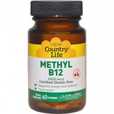 Витамин В12 метилкобаламин Country Life, Метил B12, вишневый вкус 1000 мкг, 60 леденцов