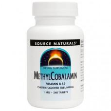 Source Naturals, МетилКобаламин, С вишневым вкусом Под язык, 1 мг, 240 таблеток