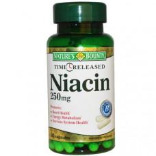 Natures Bounty, Ниацин, с отсроченным высвобождением, 250 мг, 90 капсул