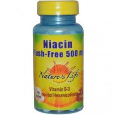 Natures Life, Ниацин, без покраснения, 500 мг, 100 таблеток
