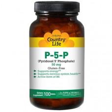 Пиридоксин, Витамин B-6,Country Life, П-5-Ф (пиридоксаль-5 -фосфат), 50 мг, 100 таблеток