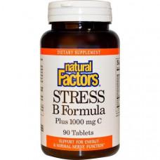 Natural Factors, Формула Стресс B, Плюс 1000 мг C, 90 таблеток