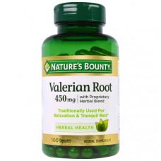 Natures Bounty, Корень валерианы с фирменной смесью трав, 450 мг, 100 капсул