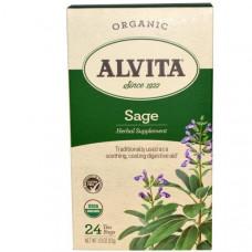 Alvita Teas, Натуральный шалфей без кофеина, 24 пакетика, 1.13 унций (32 г)