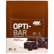 Optimum Nutrition, Высокопротеиновый Батончик Opti-Bar, Вкус Шоколадных Брауни, 12 батончиков, по 2,1 унции (60г) каждый