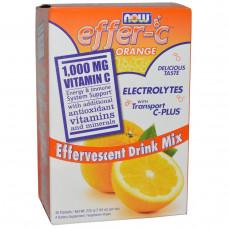 Now Foods, Effer-C, Электролиты, смесь для шипучего напитка 30 пакетиков по 7.5 г Апельсин