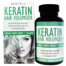 Neocell, Кератин для увеличения объема волос, 60 капсул