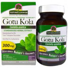 Natures Answer, Готу кола, травяной экстракт, 300 мг, 60 вегетарианских капсул