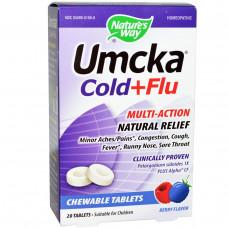 Natures Way, Umcka, от простуды и гриппа, ягодный вкус, 20 жевательных таблеток