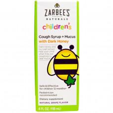 Zarbees, Naturals, детский сироп от кашля + от слизи, натуральный виноградный ароматизатор, 4 жидких унций (118 мл)