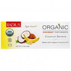 RADIUS, Органическая детская кокосовая зубная паста USDA, кокосовый банан, от 6 месяцев, 48 г (1,7 унции)