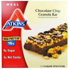 Atkins, Полноценная еда, зерновой батончик с кусочками шоколада, 5 батончиков, по 48 г каждый