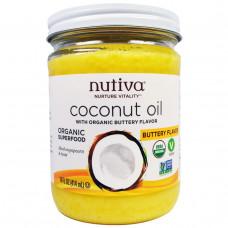 Nutiva, Органическое кокосовое масло со вкусом сливочного масла, 14 жидких унций (414 мл)
