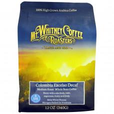 Mt. Whitney Coffee Roasters, Columbia Excelso, без кофеина, в зернах, 12 унций (340 г)