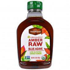 Madhava Natural Sweeteners, Органический янтарный сироп из сырой голубой агавы, 23,5 унций (667 г)