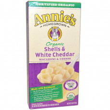 Annies Homegrown, Органические макароны и сыр, ракушки и белый чеддер, 6 унций (170 г)