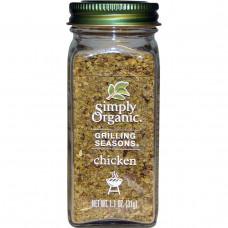 Simply Organic, Приправа для гриля, курица, органическая, 1,1 унции (31 г)