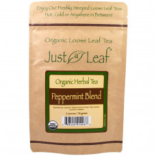 Just a Leaf Organic Tea, Peppermint Blend, Loose Leaf Tea, With Refreshing Green Tea Leaves, 100% Pure, No GMOs, 2 oz (56 g)